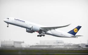 Picture The plane, Board, The rise, Lufthansa, Airbus, A350, XWB, A350-900, Airbus A350 XWB, Deutsche Lufthansa …