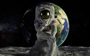 Picture collage, stone, Earth, astronaut