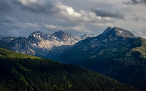 Picture forest, the sky, clouds, light, mountains, fog, hills, the slopes, tops, height, beauty, dal, haze, …