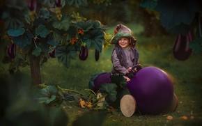 Picture joy, nature, tale, eggplant, dwarf, child, Любовь Пятовская