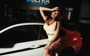 Picture machine, linen, Girl, tattoo, MAKS Akulov, Alena Koltsov