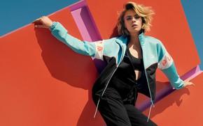 Picture look, girl, pose, model, shadow, jacket, Puma, Cara Delevingne