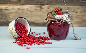 Picture berries, Board, mug, Bank, placer, a lot, jam, ladle, ladle, cranberry, blank, cranberry