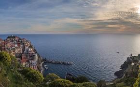 Picture sea, coast, building, home, Bay, horizon, Italy, panorama, Italy, The Ligurian sea, Manarola, Manarola, Cinque …