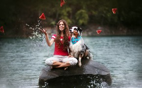Picture girl, river, dog, watermelon