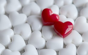 Picture love, heart, hearts, red, white