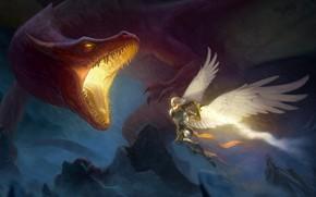 Picture rocks, dragon, wings, angel, fantasy, art, attack, male