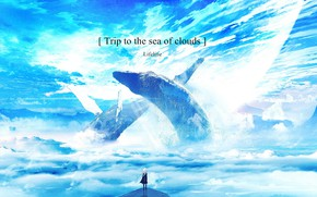 Picture girl, clouds, fantasy, whales, phrase