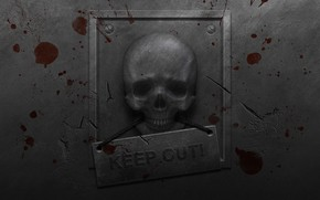 Picture metal, cracked, wall, danger, plate, blood, skull, roughness, keep out