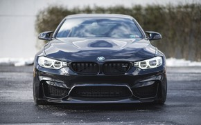 Picture BMW, Light, Winter, Front, Black, Snow, Face, F82, Sight, LED
