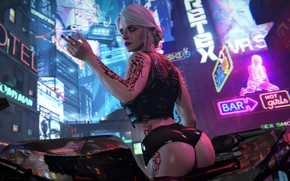 Wallpaper The city, cyberpunk, Art, Fiction, cyberpunk, Cyberpunk 2077, CRIS, Ciri, Cirilla, Cd projekt red, Cirilla ...