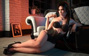Picture girl, model, linen