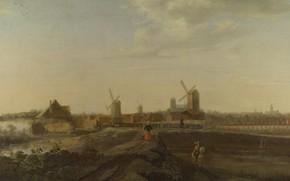 Picture windmill, Willem van Drielenburgh, Landscape with a view on Dordrecht, krtina