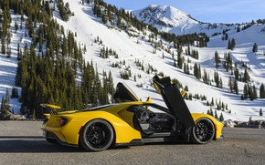 Picture mountains, Ford, door, supercar, Ford GT, 2017