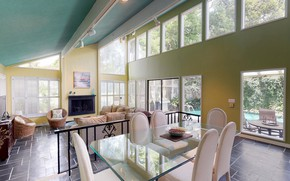 Picture interior, pool, terrace, living room, dining room