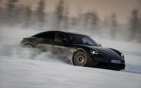 Picture field, snow, black, speed, Porsche, 2020, Taycan, Taycan 4S