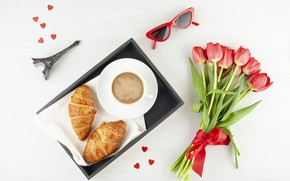 Picture coffee, bouquet, morning, croissant