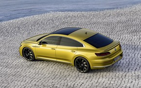 Picture yellow, pavers, Volkswagen, 2018, R-Line, liftback, 2017, Arteon