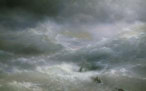 Picture picture, Wave, shipwreck, 1889, seascape, Ivan Aivazovsky