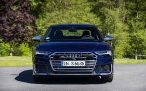 Picture Audi, sedan, front view, dark blue, Audi A6, 2019, Audi S6