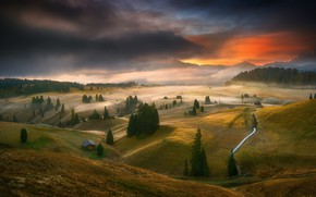 Picture forest, the sky, sunset, mountains, house, field, meadows, Krzysztof Browko