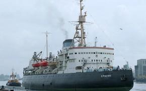 Picture icebreaker, mooring, Красин