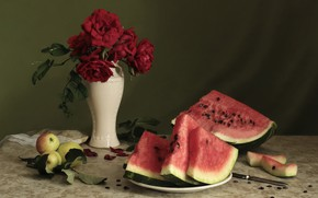 Picture rose, Apple, watermelon