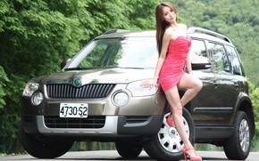 Picture auto, look, Girls, Asian, beautiful girl, Skoda, beautiful dress, posing on the car