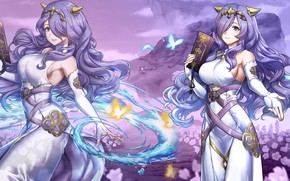 Picture girl, butterfly, magic, the game, book, Fire Emblem
