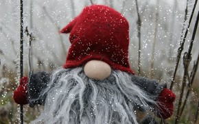 Picture winter, snow, branches, red, holiday, toy, toys, doll, nose, Christmas, grandfather, New year, beard, Santa …