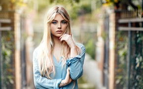 Picture look, girl, face, hair, portrait, hands, Alessandro Di Cicco