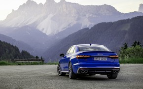 Picture blue, Audi, sedan, rear view, Audi A4, Audi S4, 2019