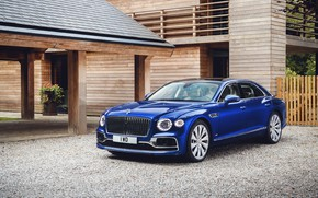 Picture auto, blue, house, Bentley, Flying Spur