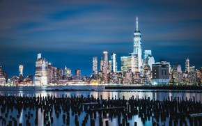 Picture building, Bay, night city, skyscrapers, piles, state of new Jersey, Jersey City, Jersey City, New …