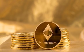 Picture logo, gold, fon, coins, the air, eth, ethereum