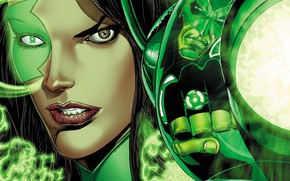 Picture girl, fantasy, comics, ring, face, artwork, lantern, DC Comics, rebirth, Jessica Cruz, Green Lanterns, superheroine