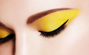 Picture eyes, yellow, arrows, makeup, eyebrows, shadows