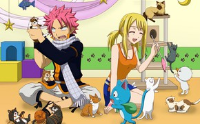 Picture romance, anime, art, pair, kittens, two, Fairy Tail, Natsu, Lucy, Happy, Fairy tail