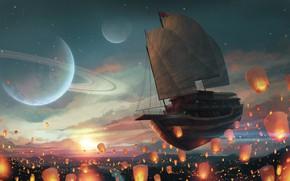 Picture Flight, Ship, Light, Planet, Fantasy, Sails, Space, Art, Planet, Fiction, Flies, Flashlight, Chinese lantern, Flying …