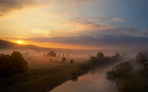 Picture summer, the sky, the sun, clouds, rays, trees, fog, river, dawn, hills, morning, haze, early, …
