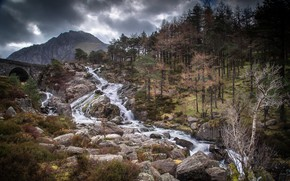 Picture mountains, stones, stream, river, Welbs