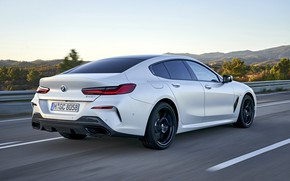 Picture white, movement, coupe, BMW, back, Gran Coupe, 840i, 8-Series, 2019, the four-door coupe, Eight, G16