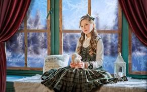 Picture toy, rabbit, window, frost, girl, lantern, pillow, Bunny, curls, sundress, on the windowsill, Диана Липкина