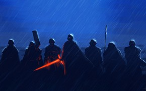 Picture Star Wars, Rain, Sword, Fantasy, Art, Lightsaber, Sith, Rain, Fighters, The shower, Characters, Squad, Kylo …
