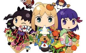 Picture girls, arrow, Chibi, Tohsaka Rin, the saber, Malachy, Archer, Emiya Shirou, Artoria Pendragon, Fate stay …