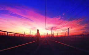Picture girl, sunset, rails