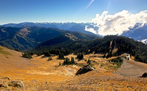 Picture the sky, clouds, mountains, valley, USA, Hurricane Ridge