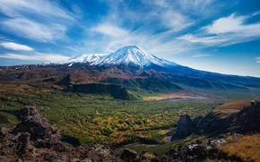 Picture the sky, mountains, nature, view, the volcano, top