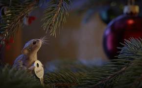 Picture tree, mouse, key, New year