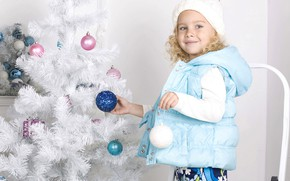 Picture look, smile, balls, tree, Christmas, girl, New year, decorate